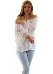 White Crochet Sleeve Summer Boho Top