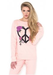 Floral Peace Heart Sweater In Washed Blush