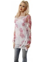 Pink & White Floral Lace Trim Silk Tunic