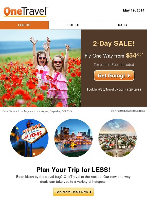 OneTravel.com: 2-Day SALE: Grab Tickets from $54.00 | Milled Onetravel
