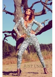Grey Snakeskin Print Cross Over Jumpsuit