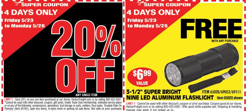 harbor freight 4 day memorial day sale starts friday milled. Black Bedroom Furniture Sets. Home Design Ideas