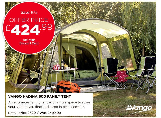 Vango Nadina 600 Family Tent & Go Outdoors: 15% off tents and camping continues in store and ...