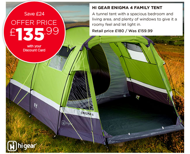 Hi Gear Enigma 4 Family Tent  sc 1 st  Milled & Go Outdoors: 15% off tents and camping continues in store and ...