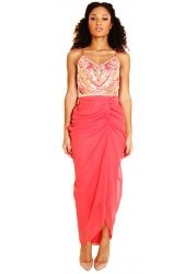 Cecille Coral Embellished Pink Ruched Camisole Dress