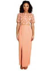 Wendy Peach Wrap Maxi Dress With Cowl Back