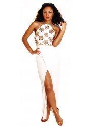 Claudia Ivory White Embellished Wrap Dress