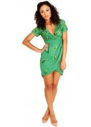 Camilla Leaf Embellished Green Mini Dress