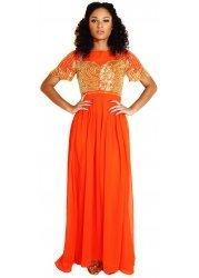 Larissa Bright Orange Maxi Dress With Gold Embellished Bodice