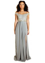 Juliana Grey Off The Shoulder Maxi Dress