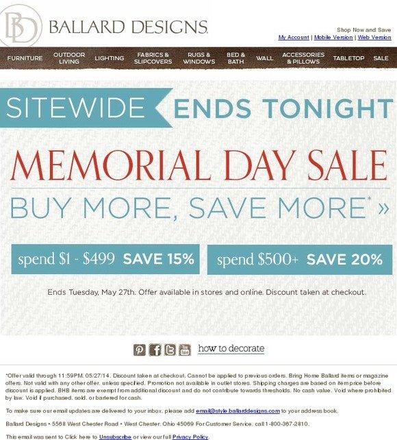 Ballard Designs Memorial Day Sale Ends Tonight