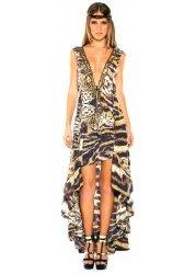 Safari Animal Print Silk Crepe Hi Low Dress