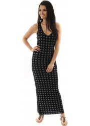 Black Racer Back Stretch Rosie Maxi Dress With Silver Circles