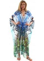 White & Green Rainforest Print Silk Kaftan Maxi Dress