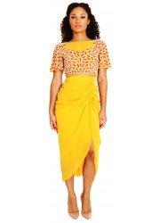 Alana Coral & Pearl Leaf Embellished Ruched Mustard Midi Dress
