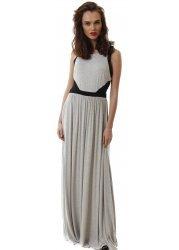 Long Grey Sleeveless Maxi Dress With Mesh Black Insert Sides