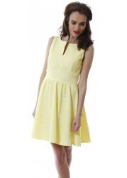 Yellow Sleeveless Skater Dress With Pretty Raised Floral Pattern
