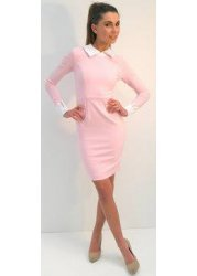 Abbey Dress In Baby Pink With White Collar & Cuffs