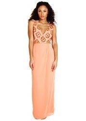 Cherise Peach Maxi Dress With Embellishment