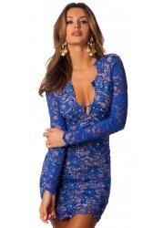 Eli Royal Blue Painted Lace Party Dress