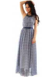 Blue Print Open Back Maxi Dress With Statement Necklace