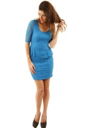 Stella Regal Blue Lace Peplum Dress