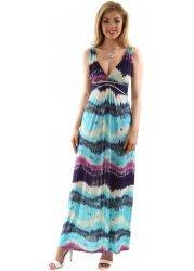 Multi Blue & Purple Striped Sleeveless Maxi Dress