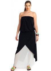 Black & Cream Pleated Strapless Maxi Dress
