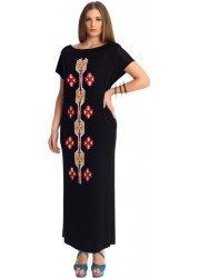 Aztec Print Black Jersey Maxi Dress