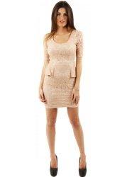 Stella Beige Rose Lace Peplum Dress