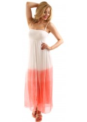 Coral Colour Block Silk Bandeau Maxi Dress