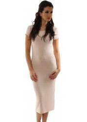 Jan Nude Blush Jersey Short Sleeve Midi Dress
