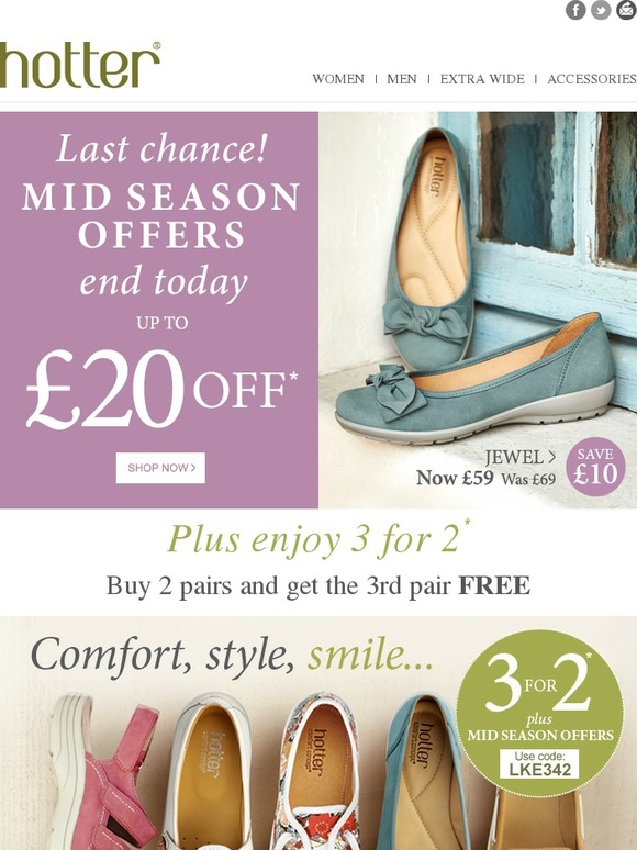 2e43b214 Hotter Shoes: Last Chance, Mid Season Offers End Today!   Milled
