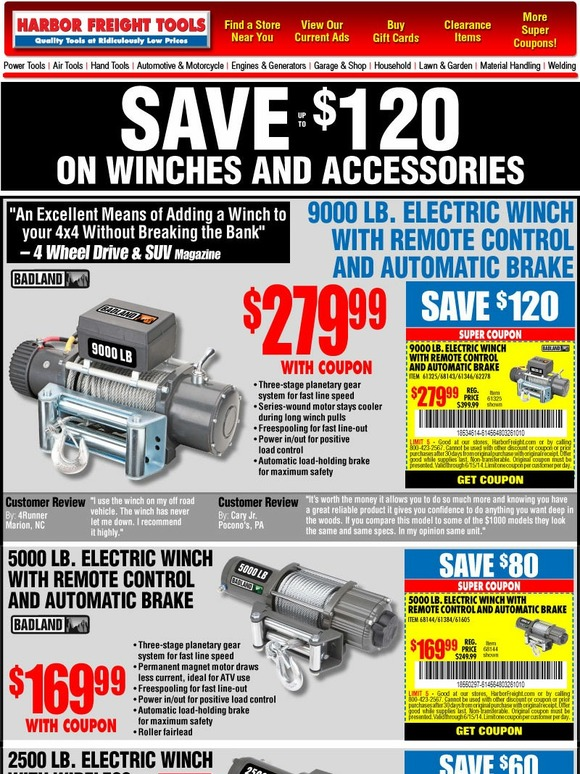 Harbor Freight Tools: Huge Savings on Winches and More with
