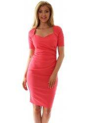 Coral Sweetheart Neckline Pleated Side Dress