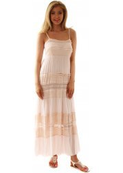 Soft Pink Lace Tiered Summer Boho Chic Maxi Dress