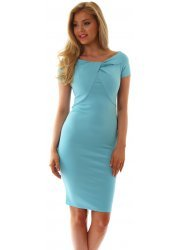 Turquoise Blue Knot Detail Fitted Dress
