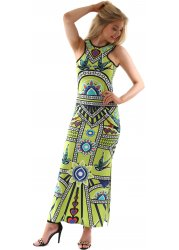 Geometric Bird Print Lime Sleeveless Maxi Dress