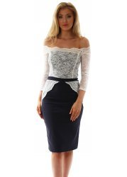 Navy & Cream Off The Shoulder Scalloped Lace Lottie Dress
