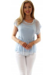 Baby Blue Silk Short Sleeved Top With Crochet Back