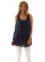 Navy Blue Silk Mix Layered Crochet & Lace Swing Top