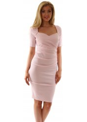 Baby Pink Sweetheart Neckline Pleated Side Dress