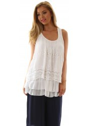 White Silk Mix Layered Crochet & Lace Swing Top