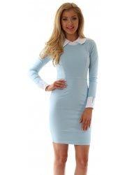 Abbey Collar & Cuffs Sky Blue Pencil Dress
