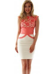 Ollie Dress Cream With Coral Lace Limited Edition