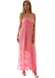 Coral Embroidered Cotton Frilled Strapless Maxi Dress