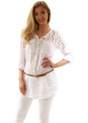 White Linen Belted Shirt With Floral Lace Shoulders