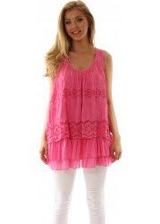 Hot Pink Silk Mix Layered Crochet & Lace Swing Top