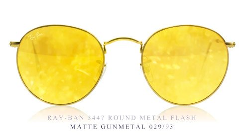 ray ban sunglasses yellow lenses  ray ban 3447 round flash lens sunglasses of the month at sunglasses shop
