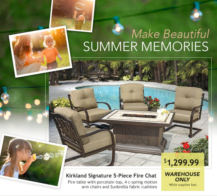 Make Beautiful Summer Memories. Kirkland Signature 5 Piece Alumicast  Fireplace Chat Group.$1,299.99